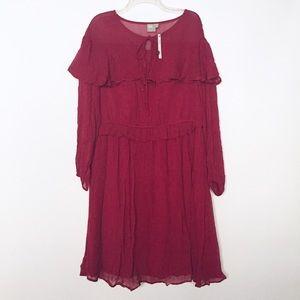 ASOS Curve Red Long Sleeve Ruffle Dress